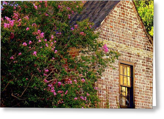 Greeting Card featuring the photograph Brick And Myrtle by Rodney Lee Williams