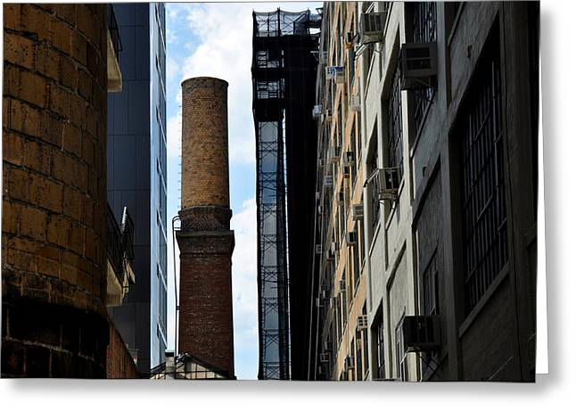 Brick Chimneys And Building New York City Greeting Card by Diane Lent