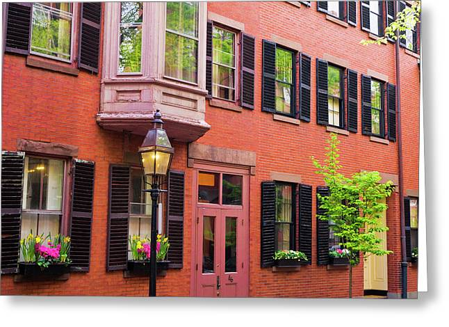 Brick Houses And Gas Street Lamp Greeting Card
