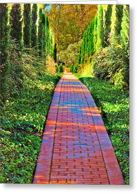 Greeting Card featuring the photograph Brick Path by Joseph Hollingsworth