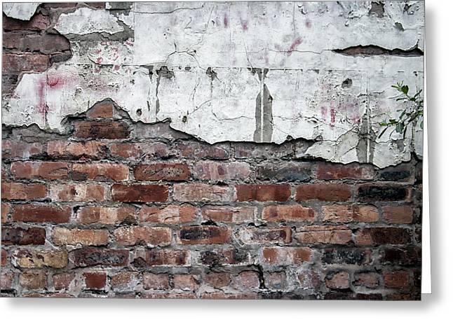 Brick Wall Abstract Greeting Card by Georgia Fowler
