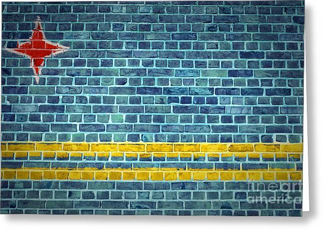 Brick Wall Aruba Greeting Card
