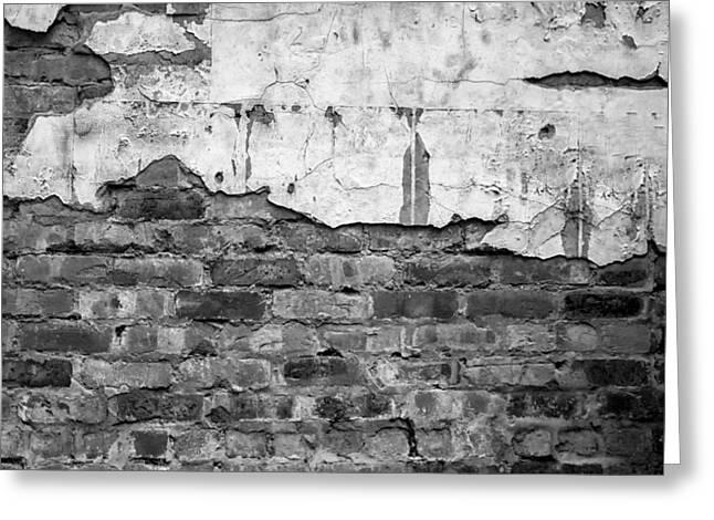 Brick Wall Monochrome Greeting Card by Georgia Fowler
