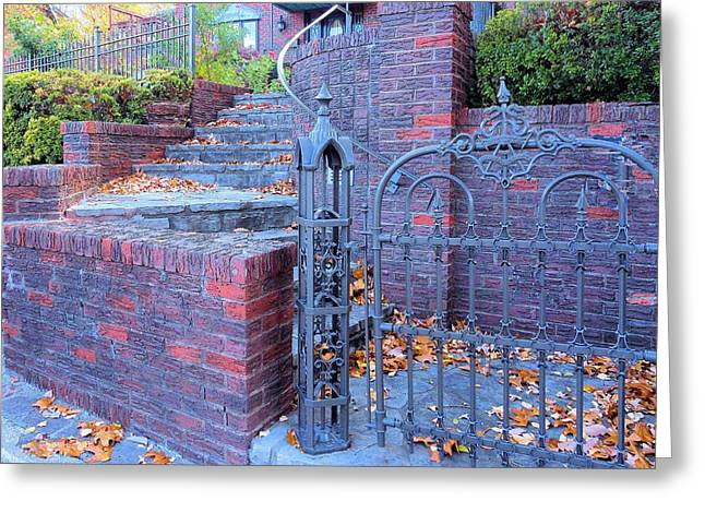 Greeting Card featuring the photograph Brick Wall With Wrought Iron Gate by Janette Boyd