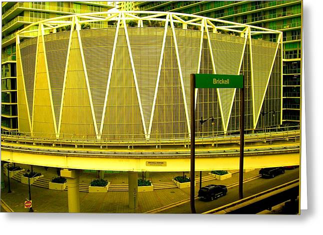 Brickell Station In Miami Greeting Card by Monique Wegmueller