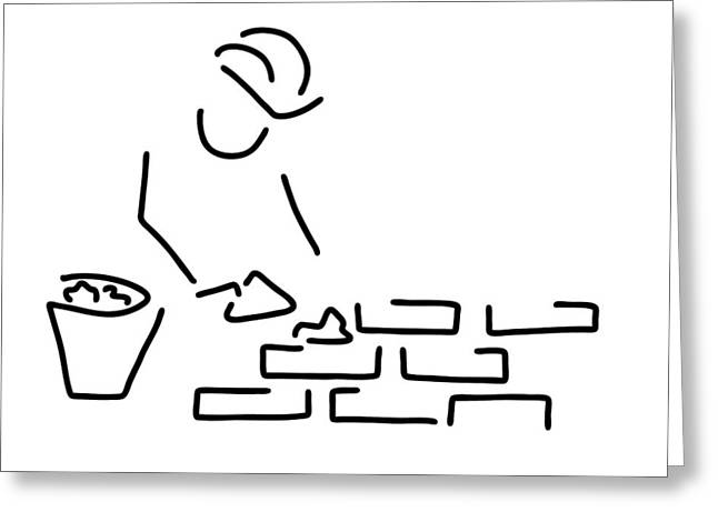 Bricklayer Construction Worker Building Greeting Card