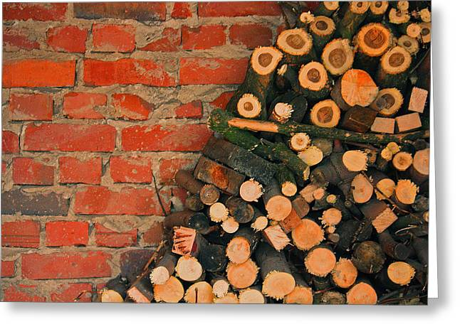 Bricks And Firewood Greeting Card by Bobby Villapando