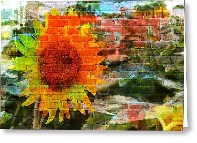Bricks And Sunflowers Greeting Card