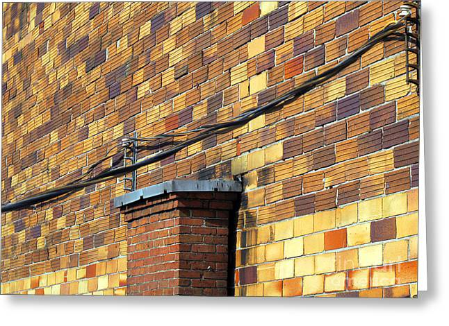 Greeting Card featuring the photograph Bricks And Wires by Ethna Gillespie
