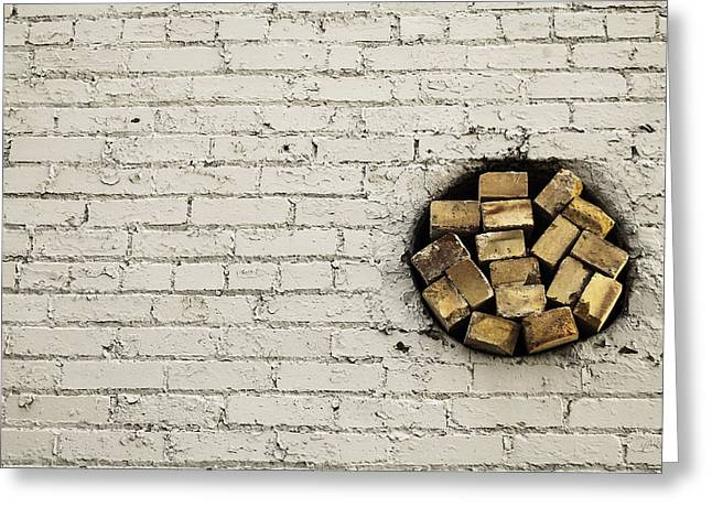 Bricks In The Wall - Abstract Greeting Card by Steven Milner