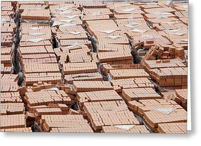 Bricks On A Building Site In Hong Kong Greeting Card