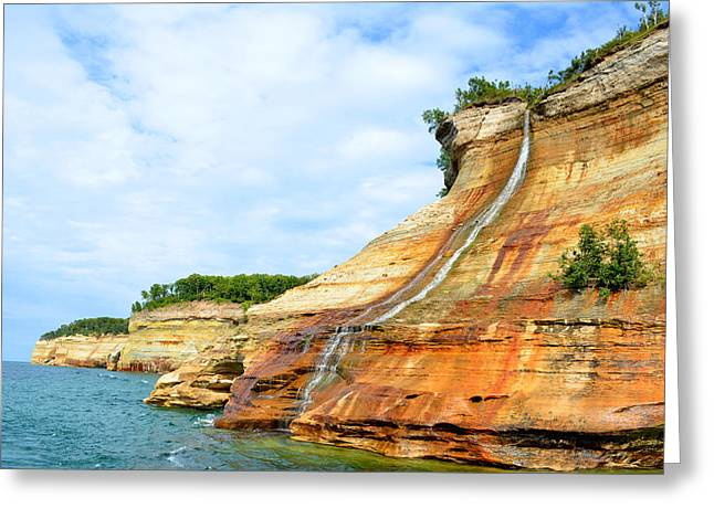 Bridal Veil Falls Pictured Rocks Michigan Greeting Card by Forest Floor Photography