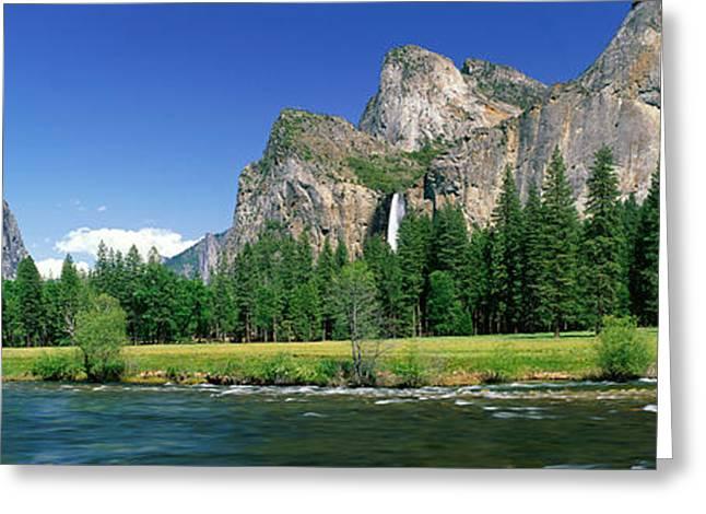 Bridal Veil Falls, Yosemite National Greeting Card by Panoramic Images