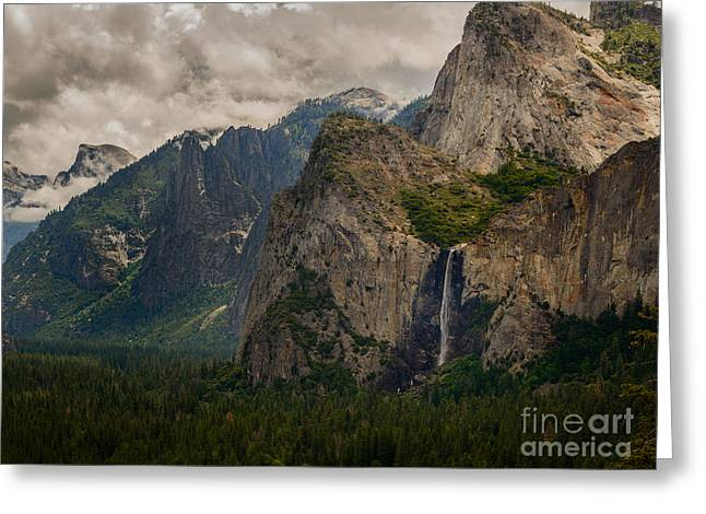 Bridalveil Falls And Yosemite Valley Greeting Card by Terry Garvin