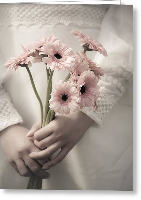 Bride And Gerbera Greeting Card by Maria Heyens