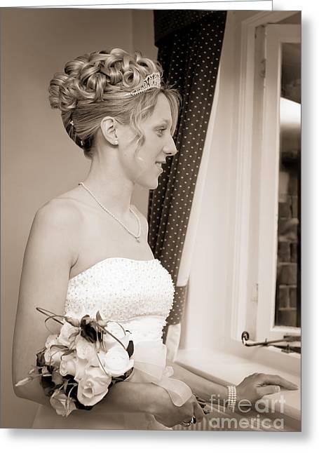 Bride Awaits Her Groom Greeting Card by Amanda Elwell