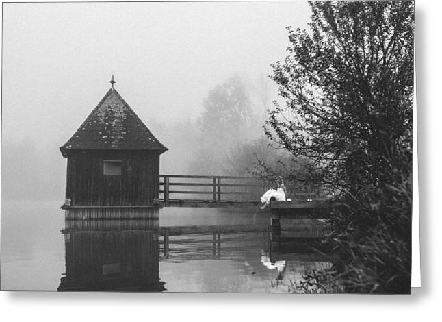 Bride In Foggy Landscape Sitting On A Jetty At A Lake Greeting Card by Leander Nardin