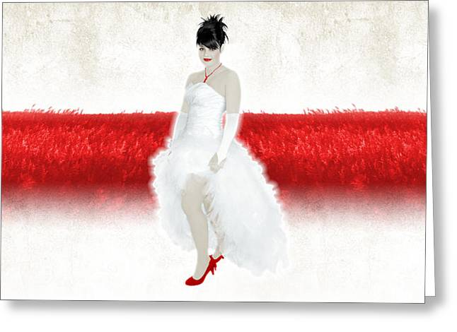 Lady In Red Greeting Card by Ervin Hajdu
