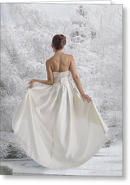 Bride In The Snow Greeting Card by Angela A Stanton