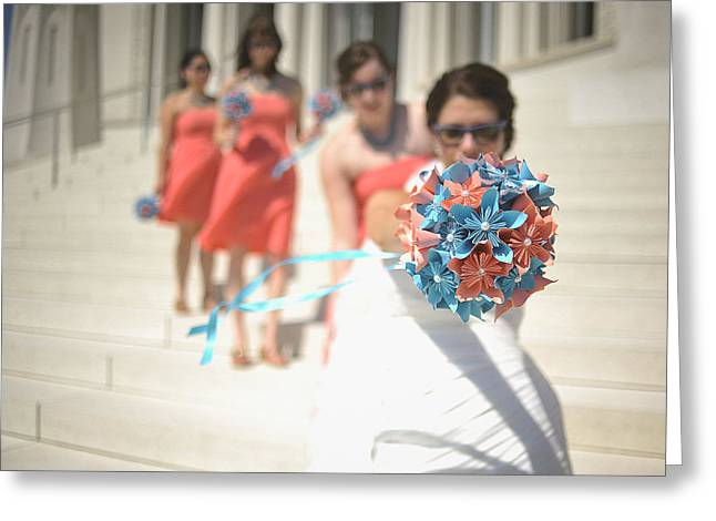 Brides And Shades And Maids And Bouquets Greeting Card