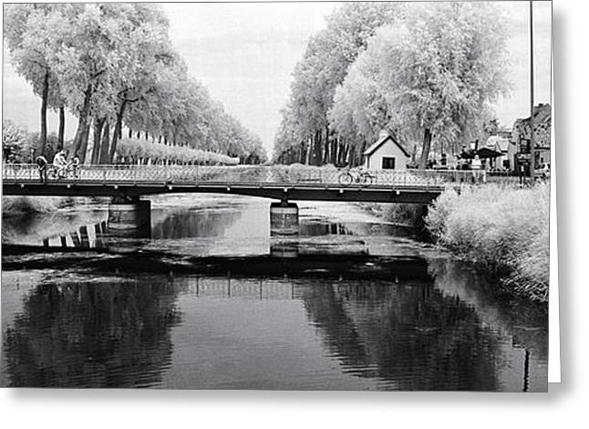 Bridge Across A Channel Connecting Greeting Card by Panoramic Images
