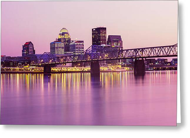 Bridge Across A River At Dusk, George Greeting Card by Panoramic Images