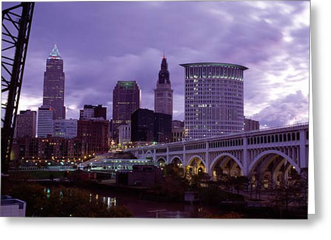 Bridge Across A River, Detroit Avenue Greeting Card by Panoramic Images