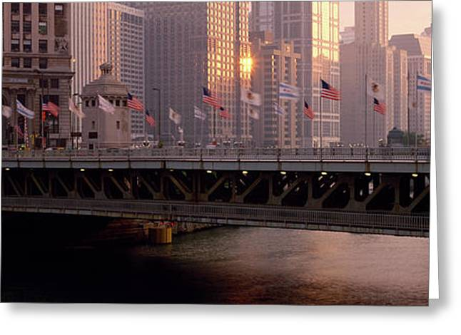 Bridge Across A River, Michigan Avenue Greeting Card by Panoramic Images
