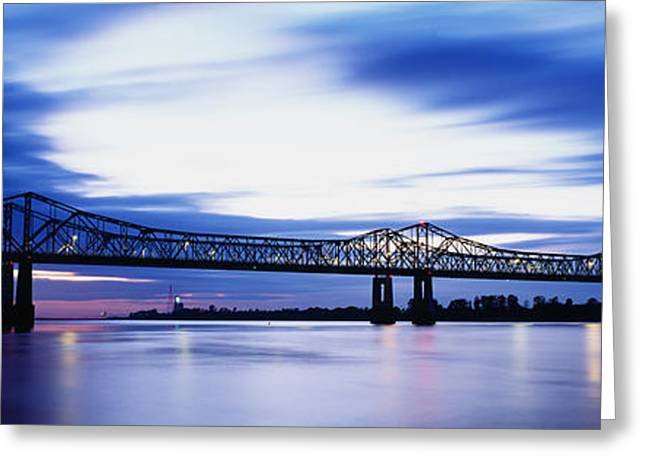 Mississippi River Scene Greeting Cards - Bridge Across A River, Mississippi Greeting Card by Panoramic Images