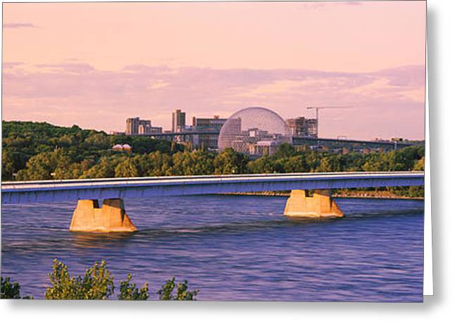 Bridge Across A River With Montreal Greeting Card by Panoramic Images