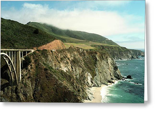 Bridge Across Hills At The Coast, Bixby Greeting Card by Panoramic Images