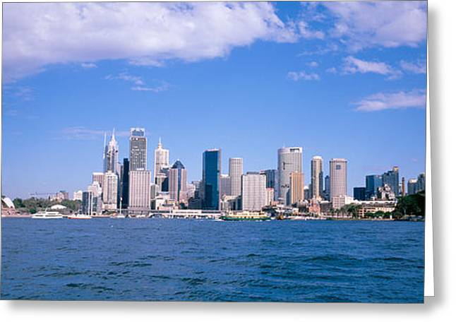 Bridge Across The Bay With Skyscrapers Greeting Card by Panoramic Images