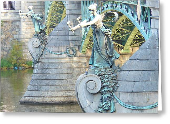Bridge Adornment In Prague Greeting Card by Kay Gilley