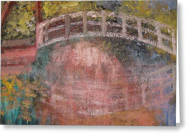 Greeting Card featuring the mixed media Bridge After Monet by Diana Riukas