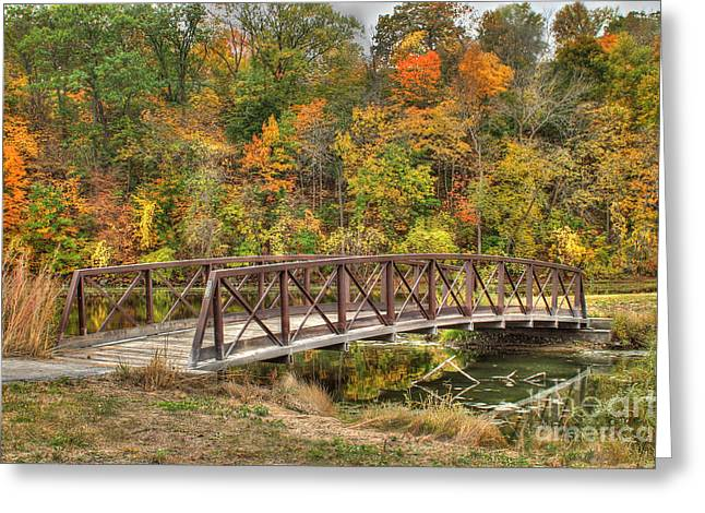 Bridge Amongst Autumn Colors Greeting Card