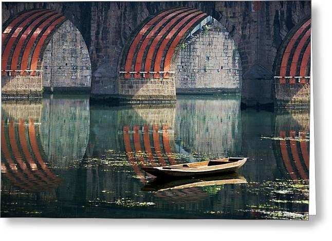 Bridge And Boat On Wuyang River Greeting Card