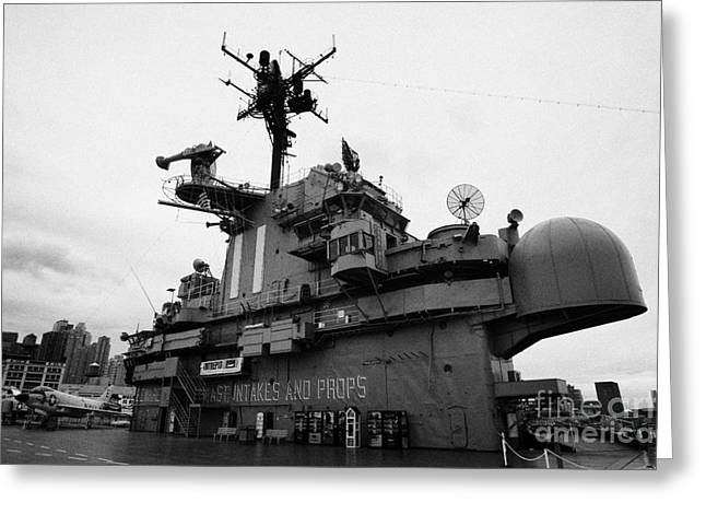 Bridge And Flight Deck Island On The Uss Intrepid At The Intrepid Sea Air Space Museum Greeting Card by Joe Fox