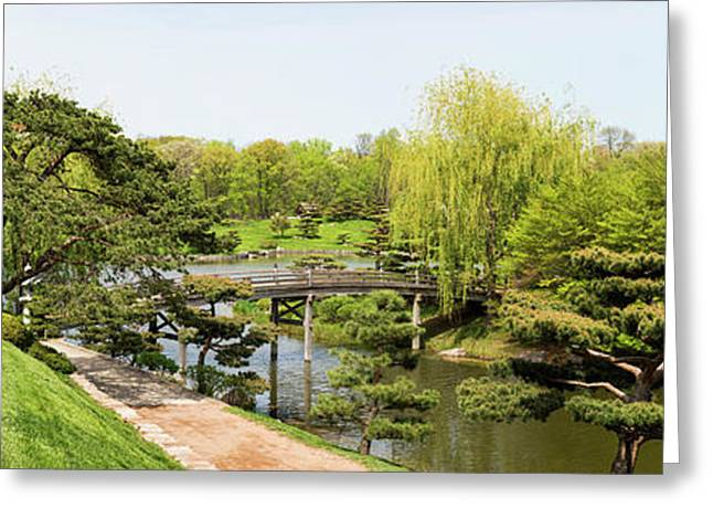 Bridge And Japanese Garden, Chicago Greeting Card by Panoramic Images