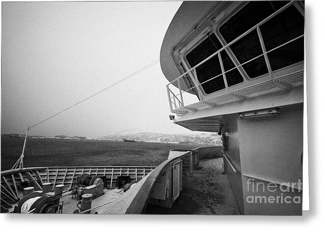 Bridge And Snow Covered Walkway On Board Hurtigruten Ferry Passenger Ship Docked In Hammerfest Durin Greeting Card by Joe Fox