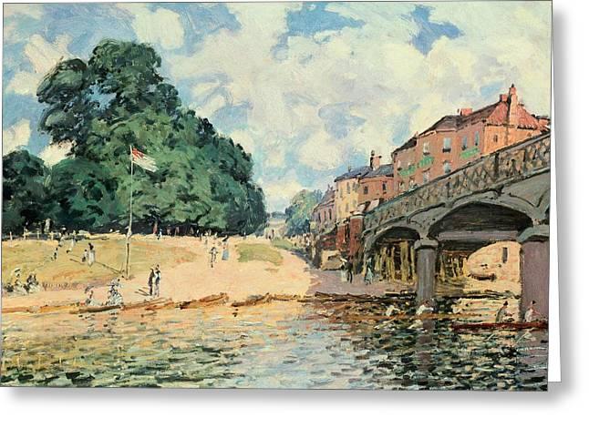 Bridge At Hampton Court Greeting Card by Alfred Sisley