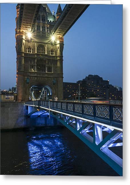 Bridge At Night Greeting Card by Svetlana Sewell