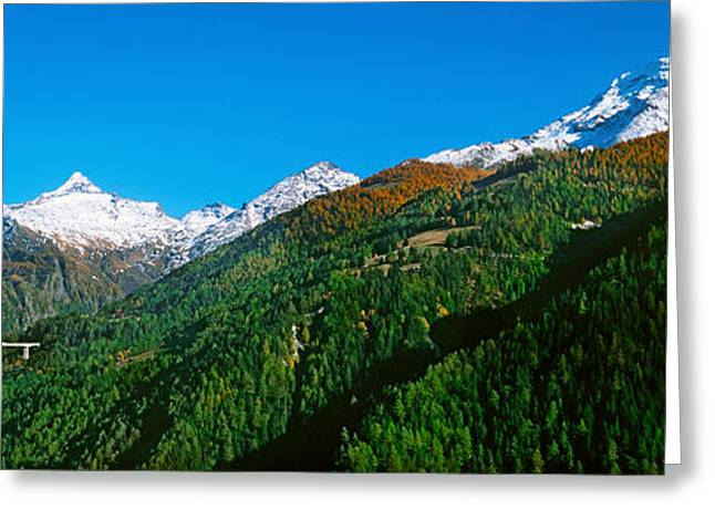 Bridge At Simplon Pass Road In Autumn Greeting Card by Panoramic Images