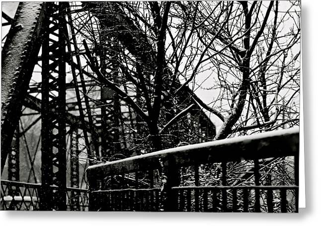 Bridge At Snowfall Greeting Card