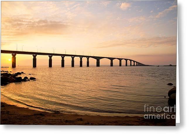 Bridge At Sunrise Greeting Card by Kennerth and Birgitta Kullman