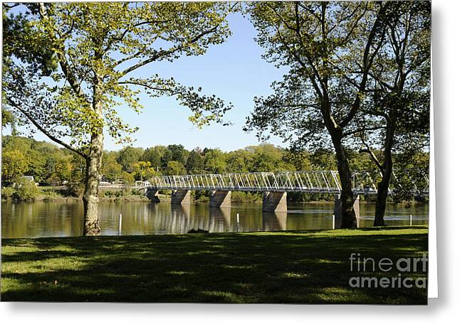 Bridge At Washington Crossing Greeting Card by Addie Hocynec