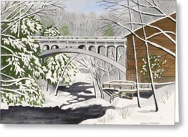 Bridge By The Mill - Mill Creek Park Greeting Card