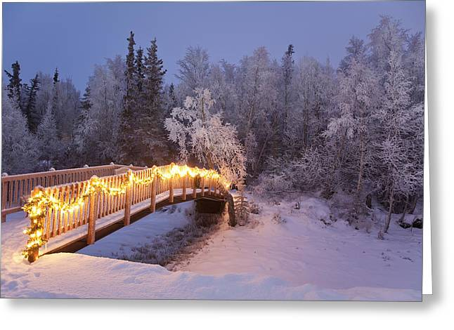 Bridge Decorated With Christmas Lights Greeting Card