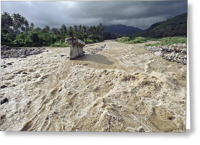 Bridge Destroyed By Flooding, Indonesia Greeting Card