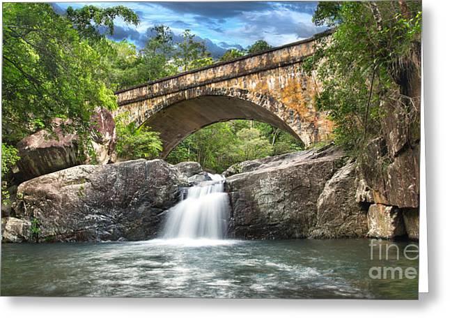 Bridge Falls Greeting Card by Shannon Rogers