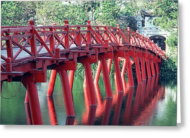 Bridge, Hoan Kiem Lake, Hanoi, Vietnam Greeting Card by Panoramic Images